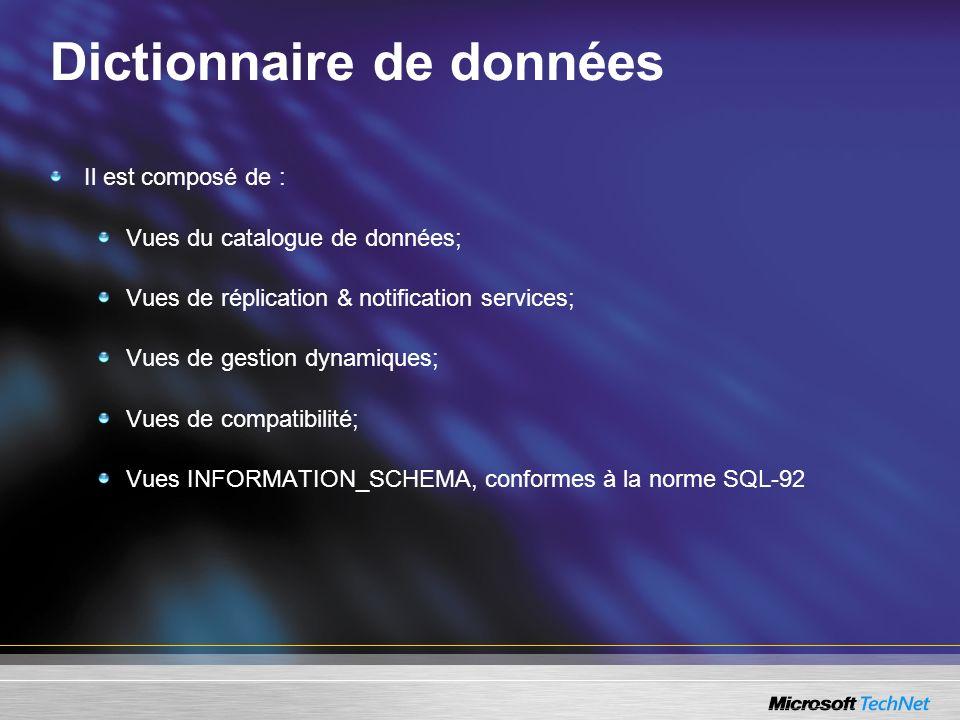 Dictionnaire de données Il est composé de : Vues du catalogue de données; Vues de réplication & notification services; Vues de gestion dynamiques; Vue