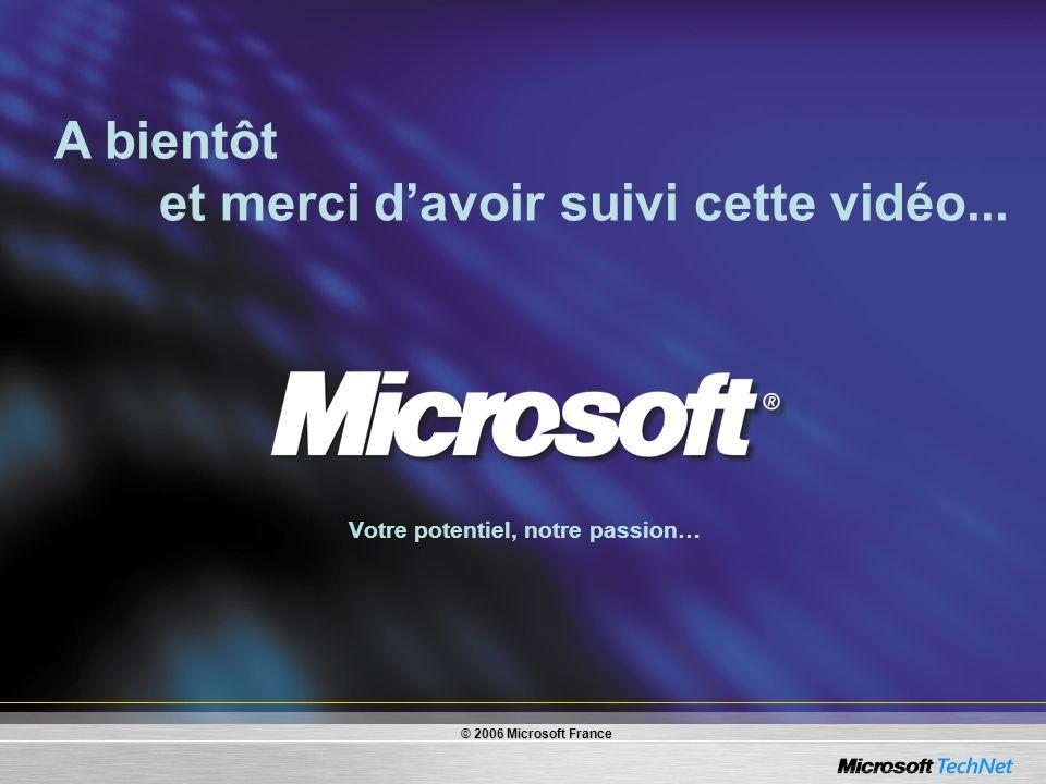 Votre potentiel, notre passion… A bientôt et merci davoir suivi cette vidéo... © 2006 Microsoft France