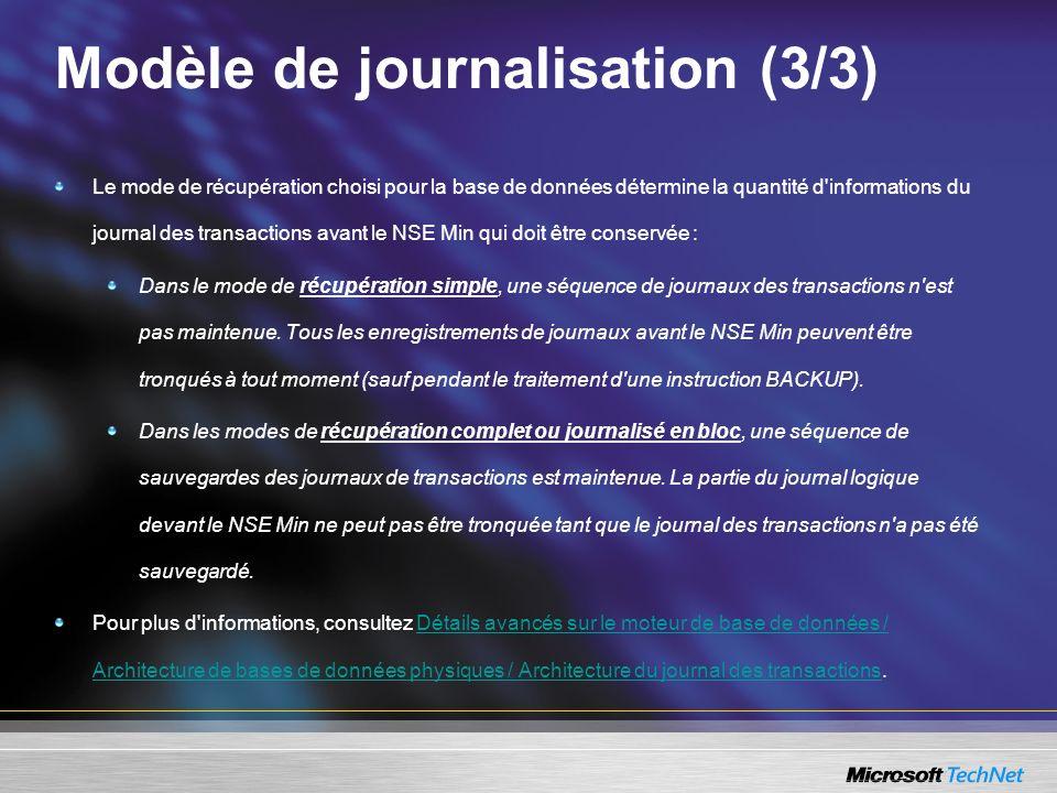 Modèle de journalisation (3/3) Le mode de récupération choisi pour la base de données détermine la quantité d'informations du journal des transactions