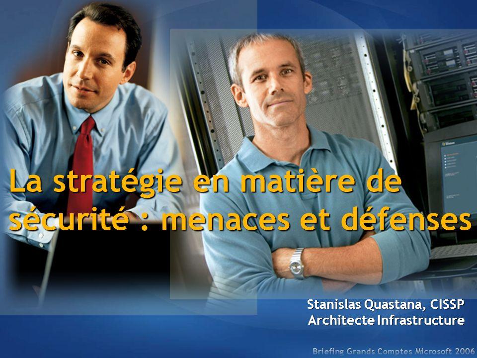 La stratégie en matière de sécurité : menaces et défenses Stanislas Quastana, CISSP Architecte Infrastructure