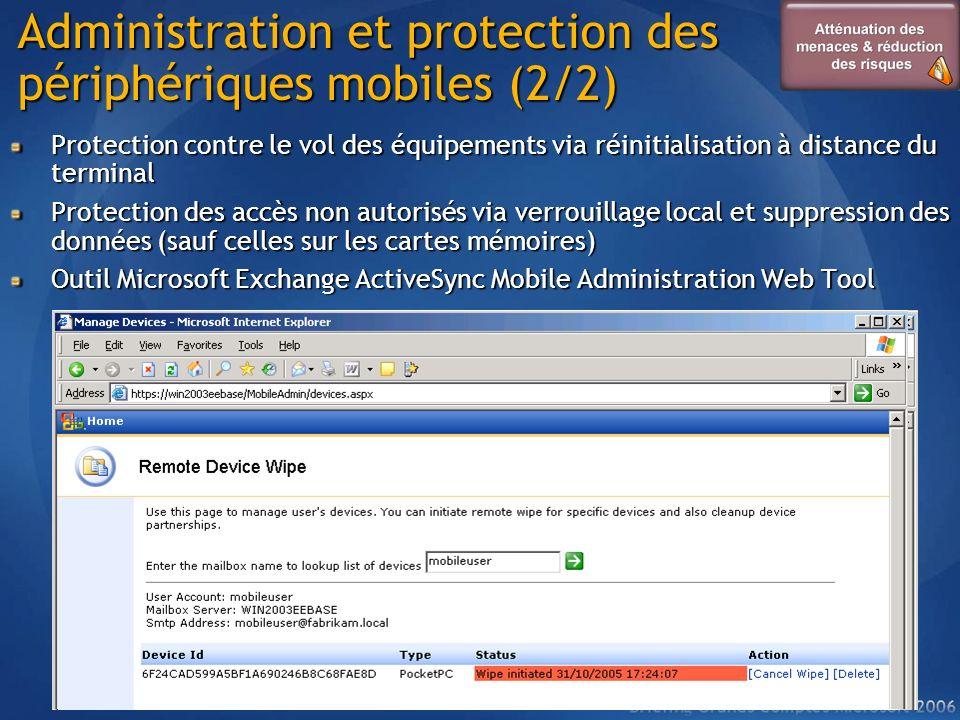 Administration et protection des périphériques mobiles (2/2) Protection contre le vol des équipements via réinitialisation à distance du terminal Prot