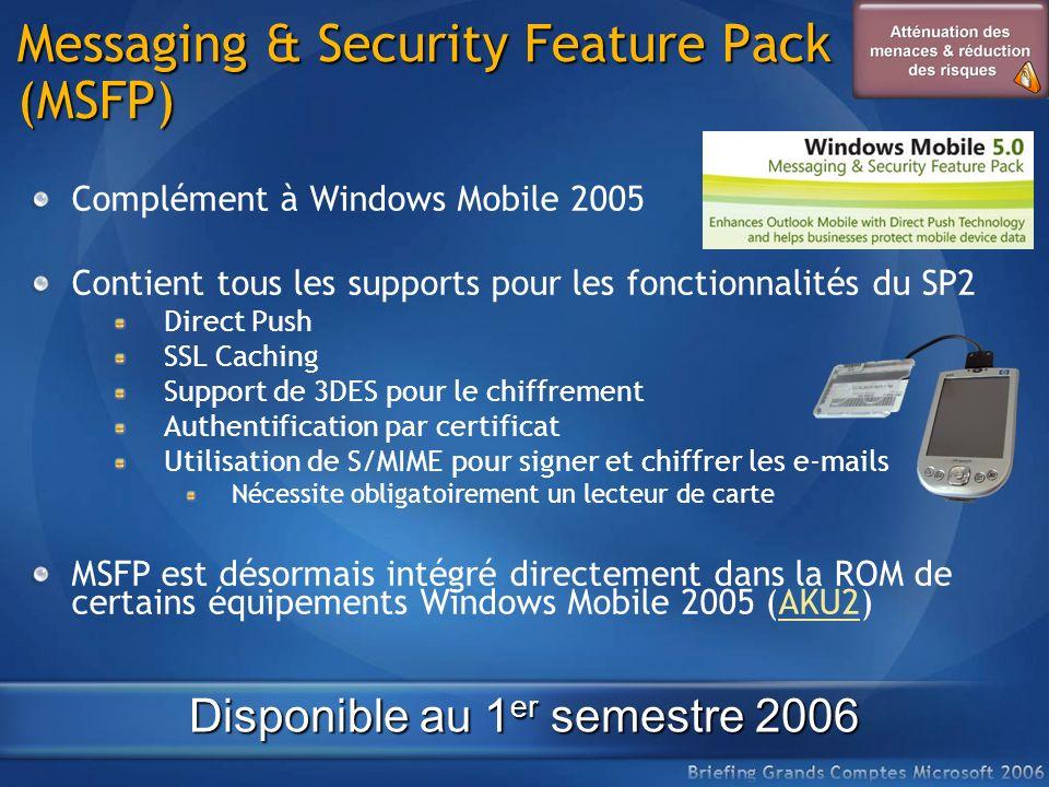 Messaging & Security Feature Pack (MSFP) Complément à Windows Mobile 2005 Contient tous les supports pour les fonctionnalités du SP2 Direct Push SSL C