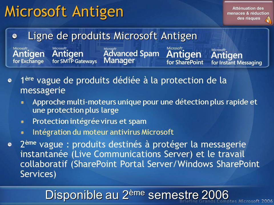 Microsoft Antigen Ligne de produits Microsoft Antigen Disponible au 2 ème semestre 2006 1 ère vague de produits dédiée à la protection de la messageri