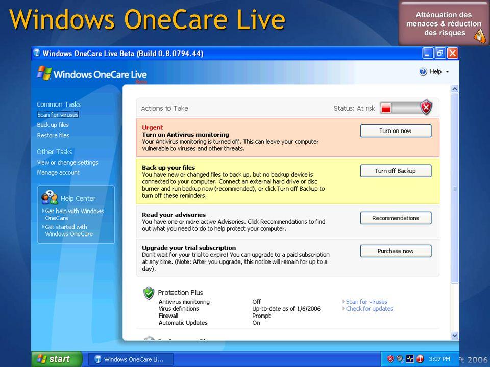 ProtectionAntivirus Temps réel Mise à jour des signatures Windows OneCare Firewall bidirectionnel Suivi des mises à jour Amélioration des performances