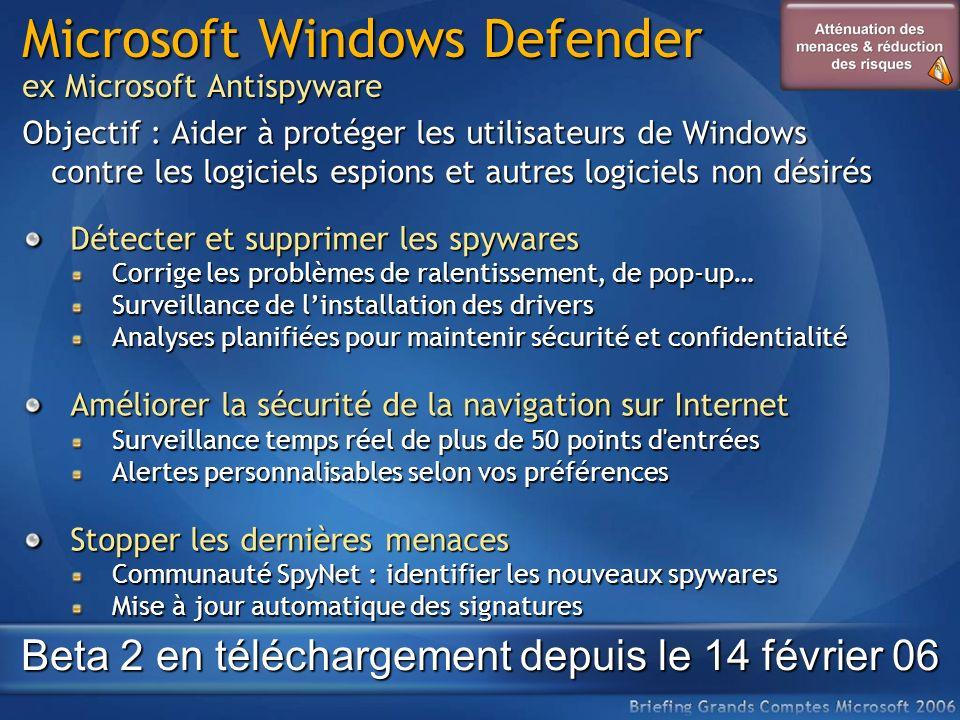 Microsoft Windows Defender ex Microsoft Antispyware Objectif : Aider à protéger les utilisateurs de Windows contre les logiciels espions et autres log