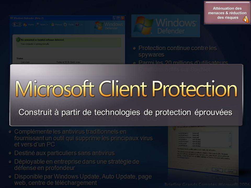 Protection continue contre les spywares Parmi les 20 millions dutilisateurs, 6 millions actifs sur SpyNet Complémente les antivirus traditionnels en f