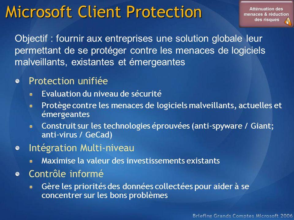 Microsoft Client Protection Protection unifiée Evaluation du niveau de sécurité Protège contre les menaces de logiciels malveillants, actuelles et éme