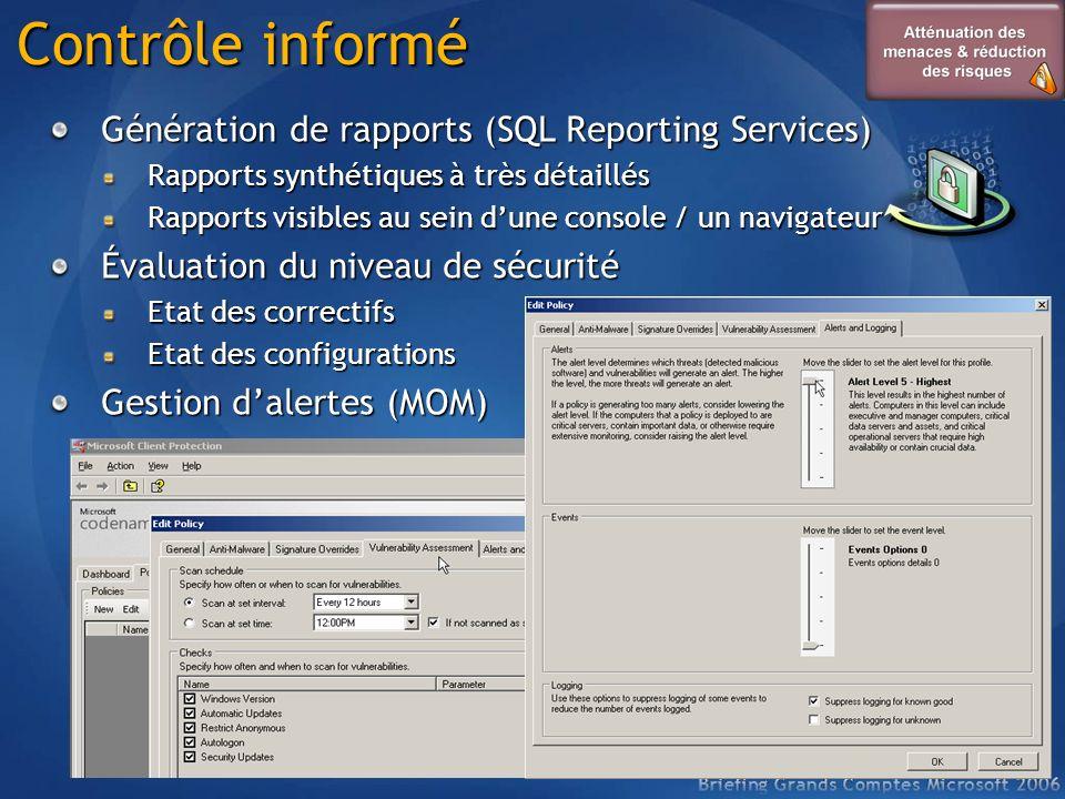 Contrôle informé Génération de rapports (SQL Reporting Services) Rapports synthétiques à très détaillés Rapports visibles au sein dune console / un na