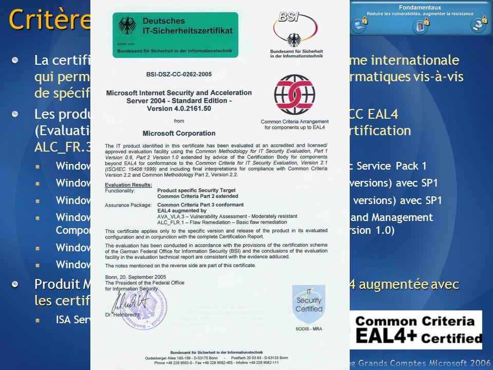 Critères communs La certification Critères Communs (CC) est une norme internationale qui permet d'assurer la conformité de produits informatiques vis-