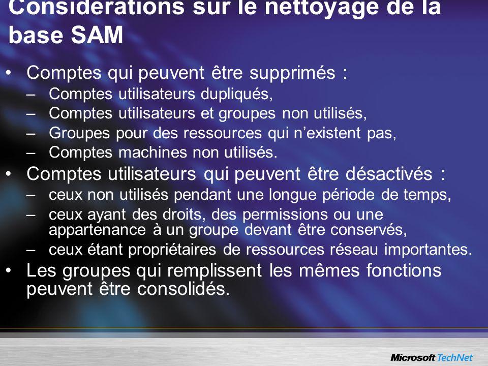 Considérations sur le nettoyage de la base SAM Comptes qui peuvent être supprimés : –Comptes utilisateurs dupliqués, –Comptes utilisateurs et groupes