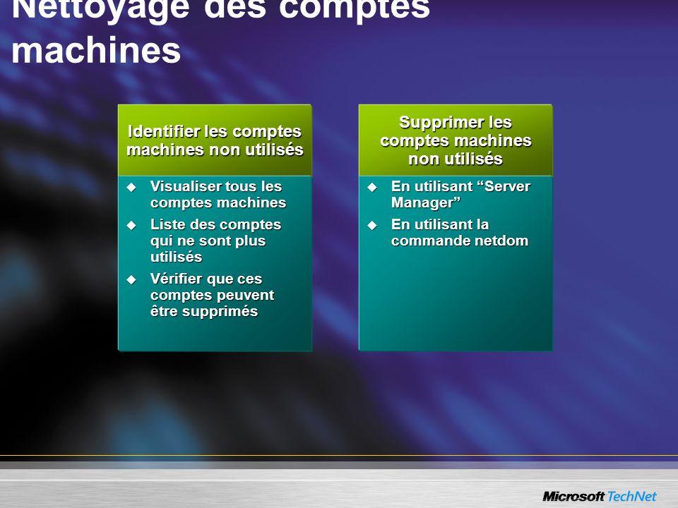 Supprimer les comptes machines non utilisés En utilisant Server Manager En utilisant Server Manager En utilisant la commande netdom En utilisant la co