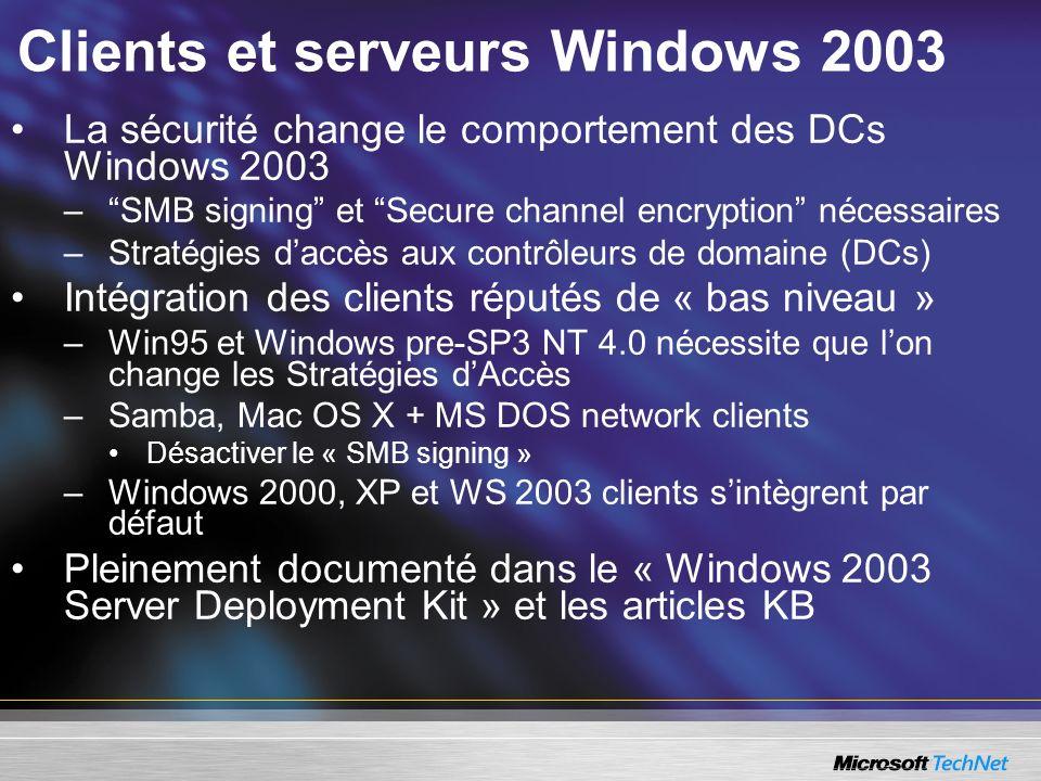 Clients et serveurs Windows 2003 La sécurité change le comportement des DCs Windows 2003 –SMB signing et Secure channel encryption nécessaires –Straté