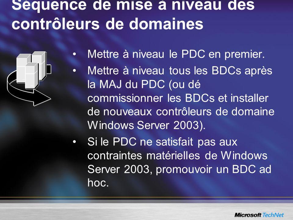 Séquence de mise à niveau des contrôleurs de domaines Mettre à niveau le PDC en premier. Mettre à niveau tous les BDCs après la MAJ du PDC (ou dé comm