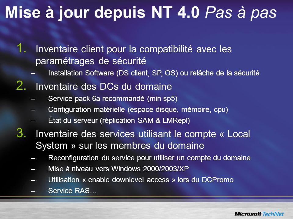 Mise à jour depuis NT 4.0 Pas à pas 1. Inventaire client pour la compatibilité avec les paramétrages de sécurité –Installation Software (DS client, SP
