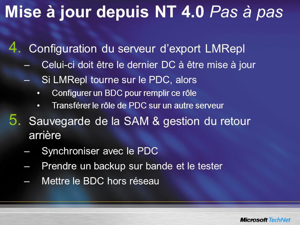 4. Configuration du serveur dexport LMRepl –Celui-ci doit être le dernier DC à être mise à jour –Si LMRepl tourne sur le PDC, alors Configurer un BDC