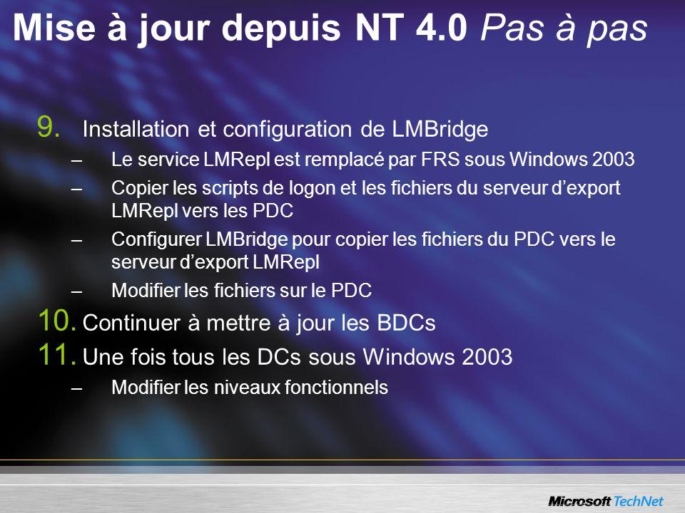 9. Installation et configuration de LMBridge –Le service LMRepl est remplacé par FRS sous Windows 2003 –Copier les scripts de logon et les fichiers du