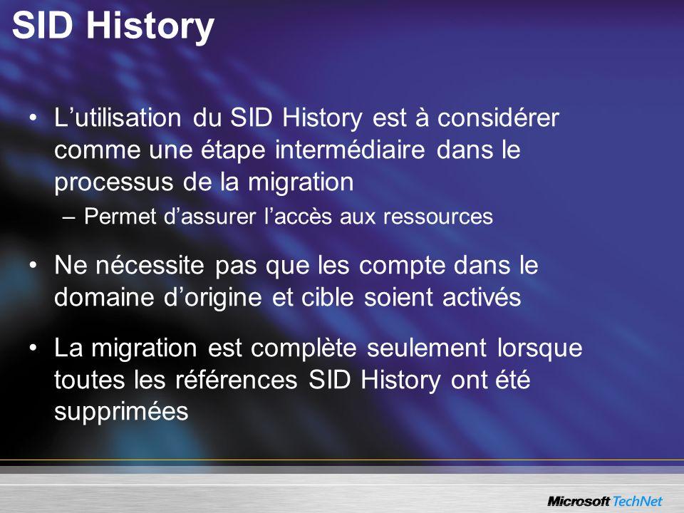 SID History Lutilisation du SID History est à considérer comme une étape intermédiaire dans le processus de la migration –Permet dassurer laccès aux r