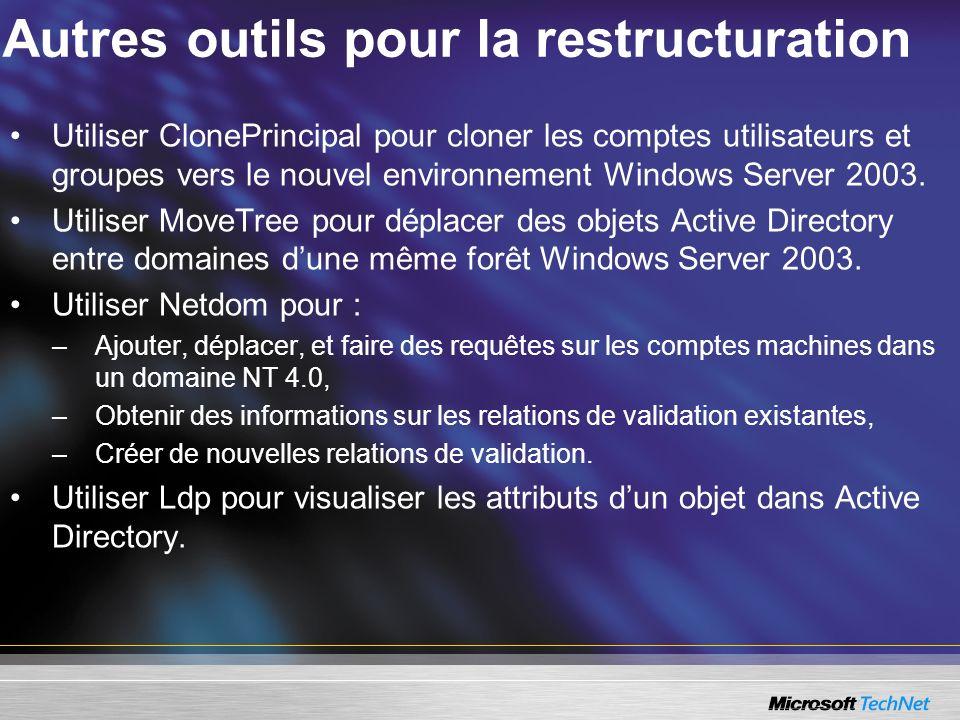 Autres outils pour la restructuration Utiliser ClonePrincipal pour cloner les comptes utilisateurs et groupes vers le nouvel environnement Windows Ser