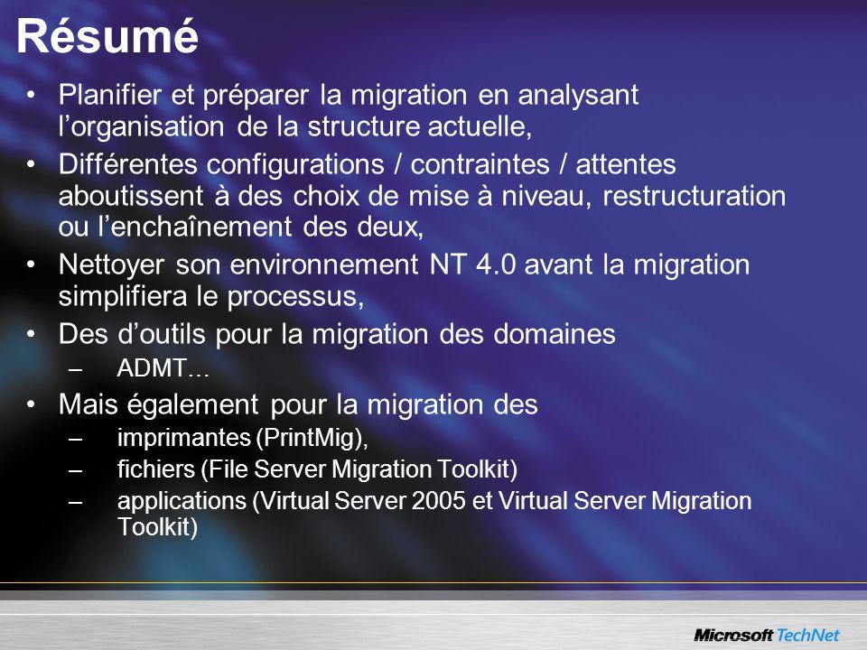 Résumé Planifier et préparer la migration en analysant lorganisation de la structure actuelle, Différentes configurations / contraintes / attentes abo