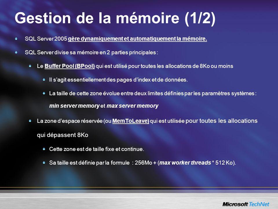 Gestion de la mémoire (2/2) Une hiérachie de composants se partagent la gestion de la mémoire ; 1.les nœuds mémoires, 2.Les agents mémoires (les clerks) qui gèrent des caches et des pools 3.Les objets De nombreux éléments utilisent ces composants : Le cache de procédures Le cache des ordres SQL Le gestionnaire de verrous Le CLR (Common Language Runtime), … Pour de plus amples détails, vous pouvez allez sur le blog suivant : http://blogs.msdn.com/slavao/articles/441058.aspx http://blogs.msdn.com/slavao/articles/441058.aspx