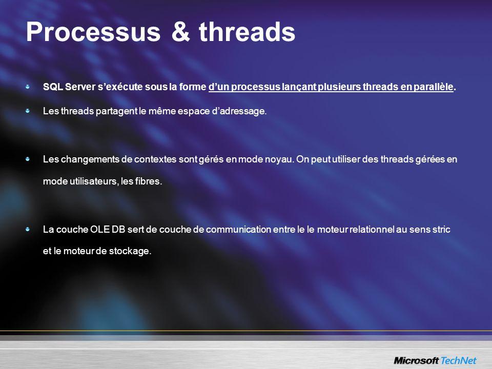 Processus & threads SQL Server sexécute sous la forme dun processus lançant plusieurs threads en parallèle.