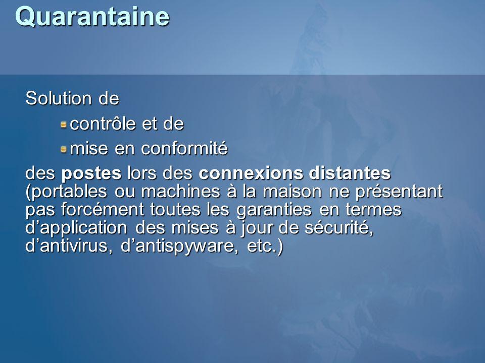 Quarantaine Solution de contrôle et de mise en conformité des postes lors des connexions distantes (portables ou machines à la maison ne présentant pa