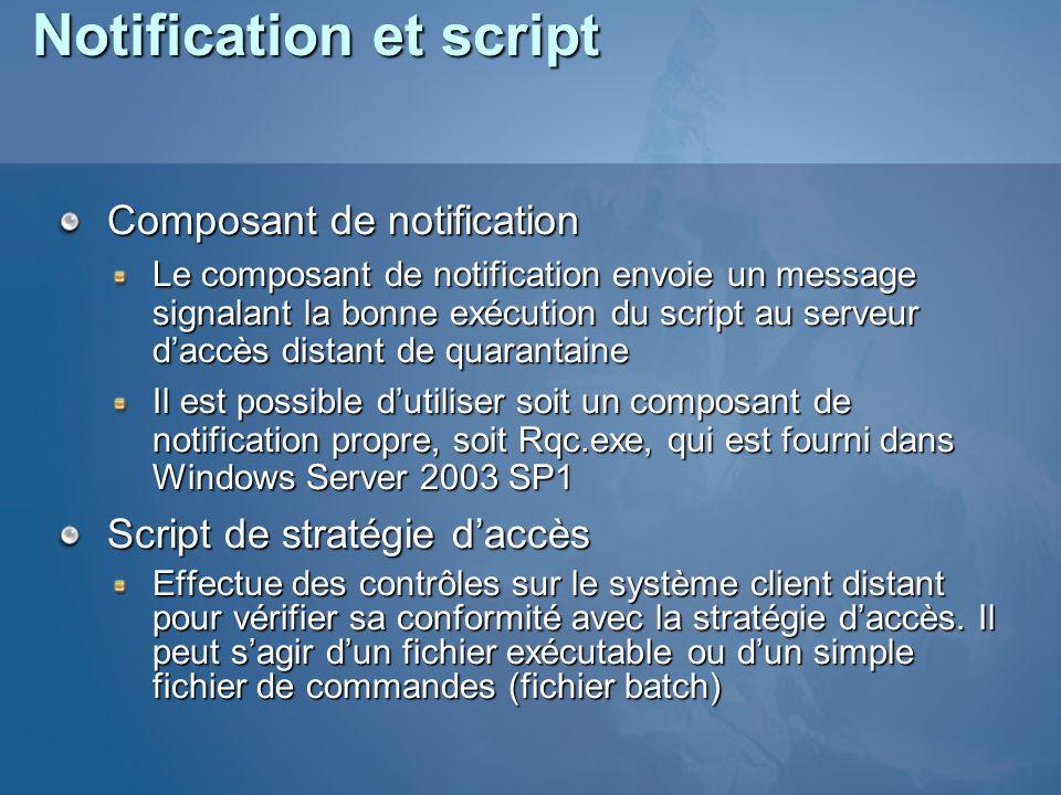 Notification et script Composant de notification Le composant de notification envoie un message signalant la bonne exécution du script au serveur dacc