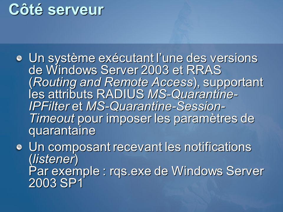 Côté serveur Un système exécutant lune des versions de Windows Server 2003 et RRAS (Routing and Remote Access), supportant les attributs RADIUS MS-Qua