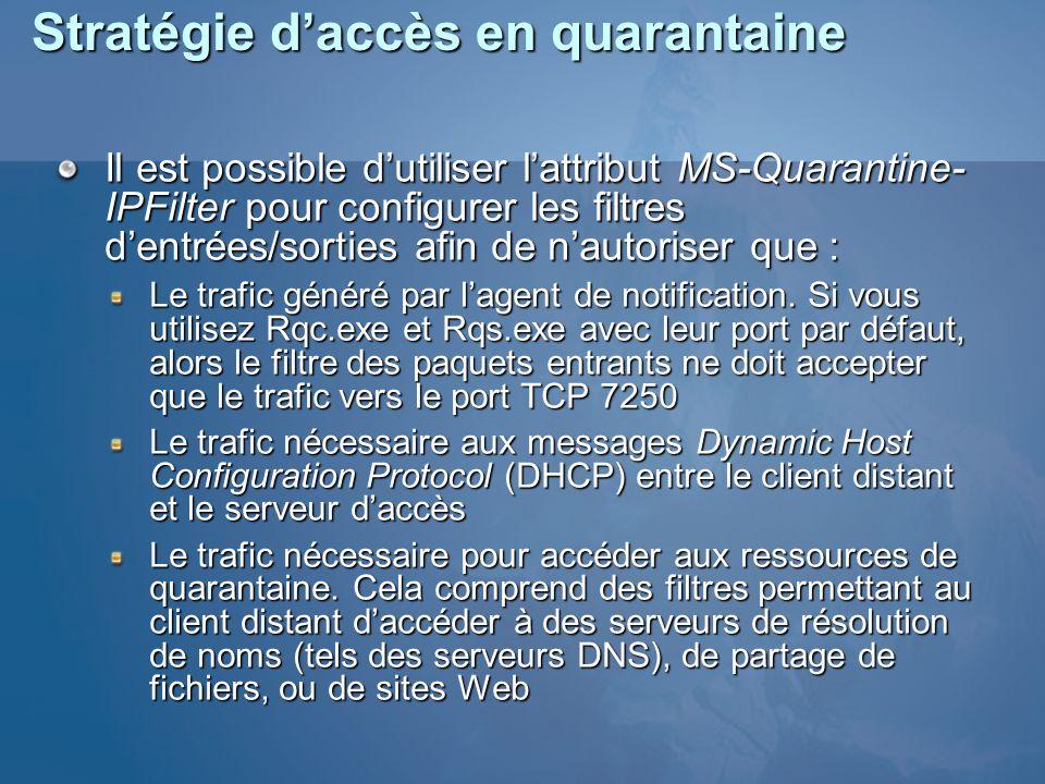 Stratégie daccès en quarantaine Il est possible dutiliser lattribut MS-Quarantine- IPFilter pour configurer les filtres dentrées/sorties afin de nauto