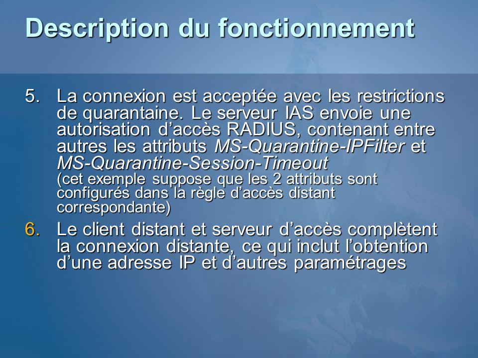 5.La connexion est acceptée avec les restrictions de quarantaine. Le serveur IAS envoie une autorisation daccès RADIUS, contenant entre autres les att