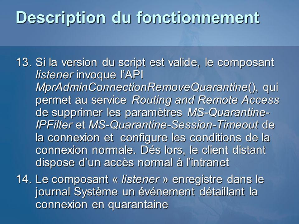 Description du fonctionnement 13.Si la version du script est valide, le composant listener invoque lAPI MprAdminConnectionRemoveQuarantine(), qui perm
