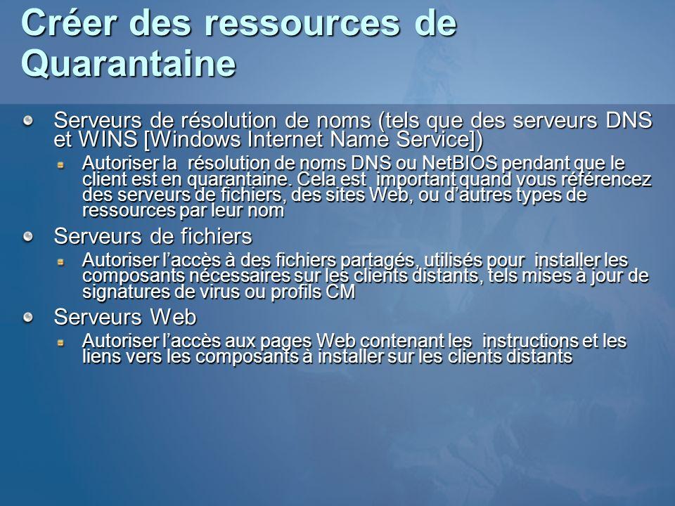 Créer des ressources de Quarantaine Serveurs de résolution de noms (tels que des serveurs DNS et WINS [Windows Internet Name Service]) Autoriser la ré