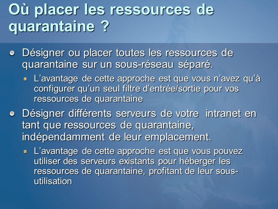 Où placer les ressources de quarantaine ? Désigner ou placer toutes les ressources de quarantaine sur un sous-réseau séparé. Lavantage de cette approc
