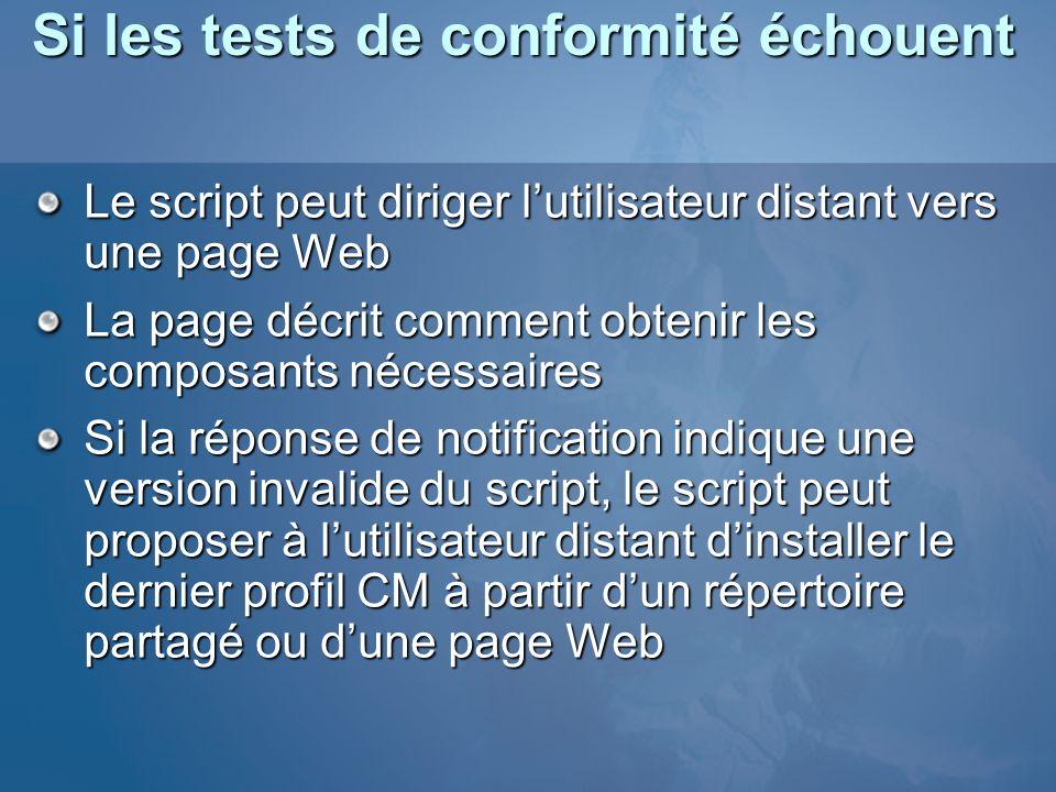Si les tests de conformité échouent Le script peut diriger lutilisateur distant vers une page Web La page décrit comment obtenir les composants nécess