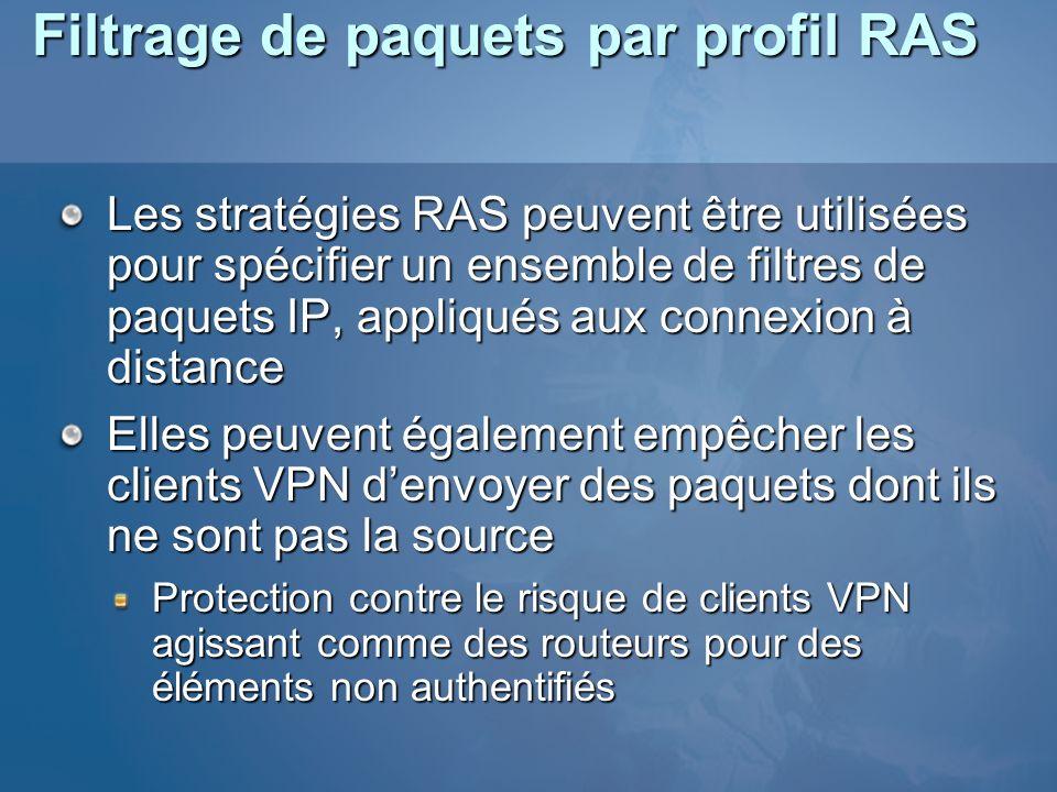 Filtrage de paquets par profil RAS Les stratégies RAS peuvent être utilisées pour spécifier un ensemble de filtres de paquets IP, appliqués aux connex
