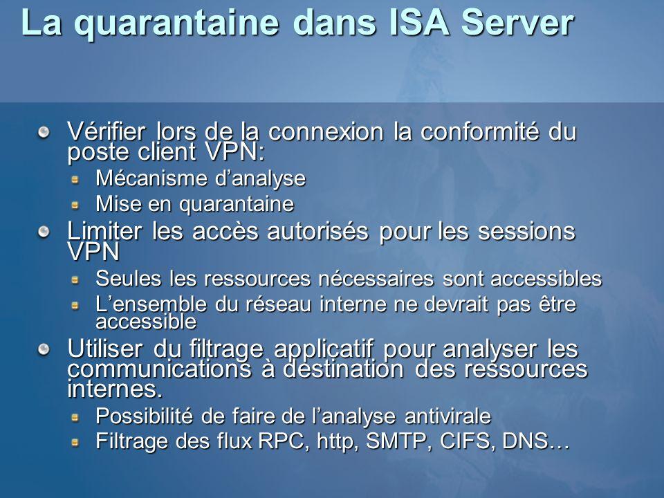 La quarantaine dans ISA Server Vérifier lors de la connexion la conformité du poste client VPN: Mécanisme danalyse Mise en quarantaine Limiter les acc