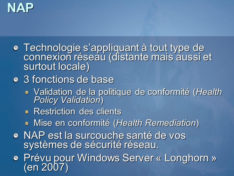 NAP Technologie sappliquant à tout type de connexion réseau (distante mais aussi et surtout locale) 3 fonctions de base Validation de la politique de