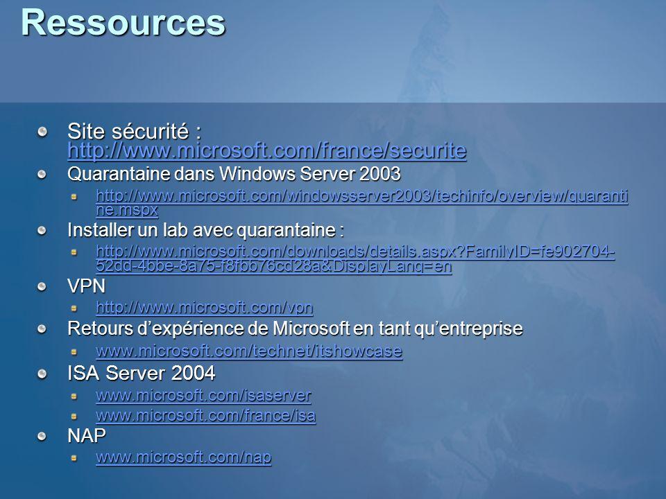 Ressources Site sécurité : http://www.microsoft.com/france/securite http://www.microsoft.com/france/securite Quarantaine dans Windows Server 2003 http