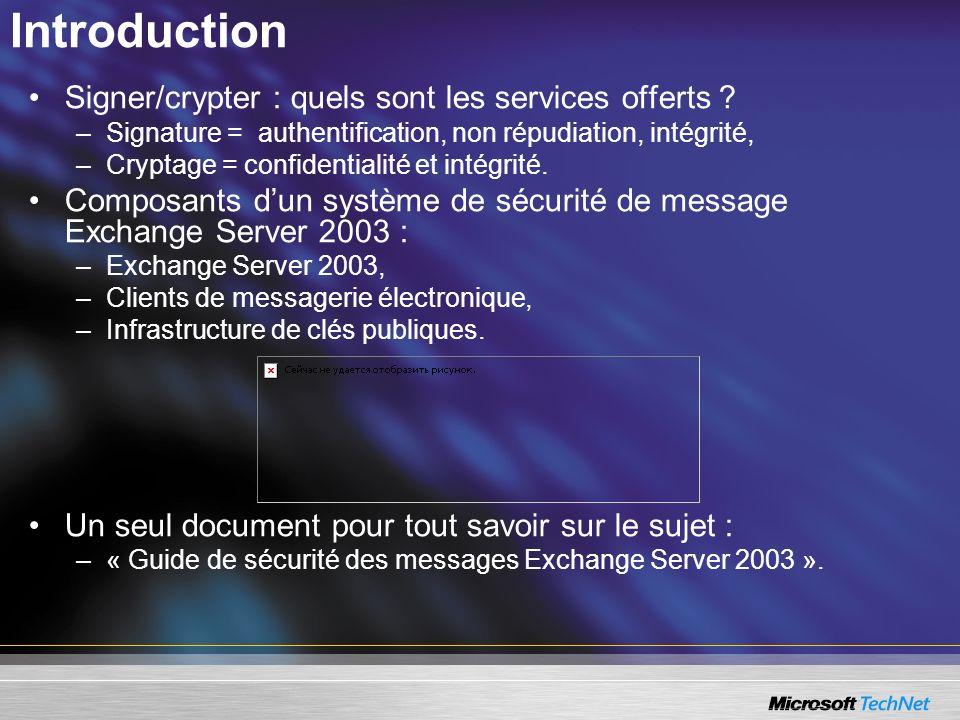 Introduction Signer/crypter : quels sont les services offerts ? –Signature = authentification, non répudiation, intégrité, –Cryptage = confidentialité