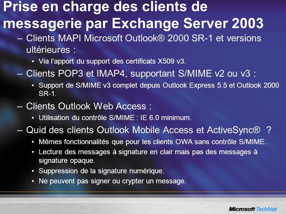 Prise en charge des clients de messagerie par Exchange Server 2003 –Clients MAPI Microsoft Outlook® 2000 SR-1 et versions ultérieures : Via lapport du support des certificats X509 v3.