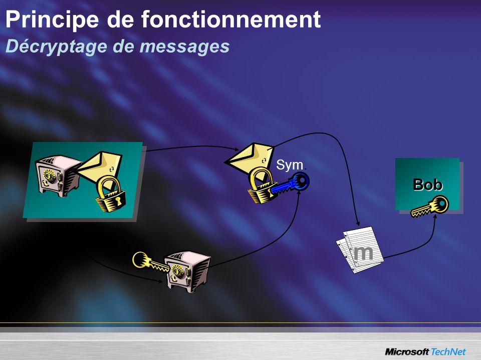 Principe de fonctionnement Décryptage de messages Sym. BobBob