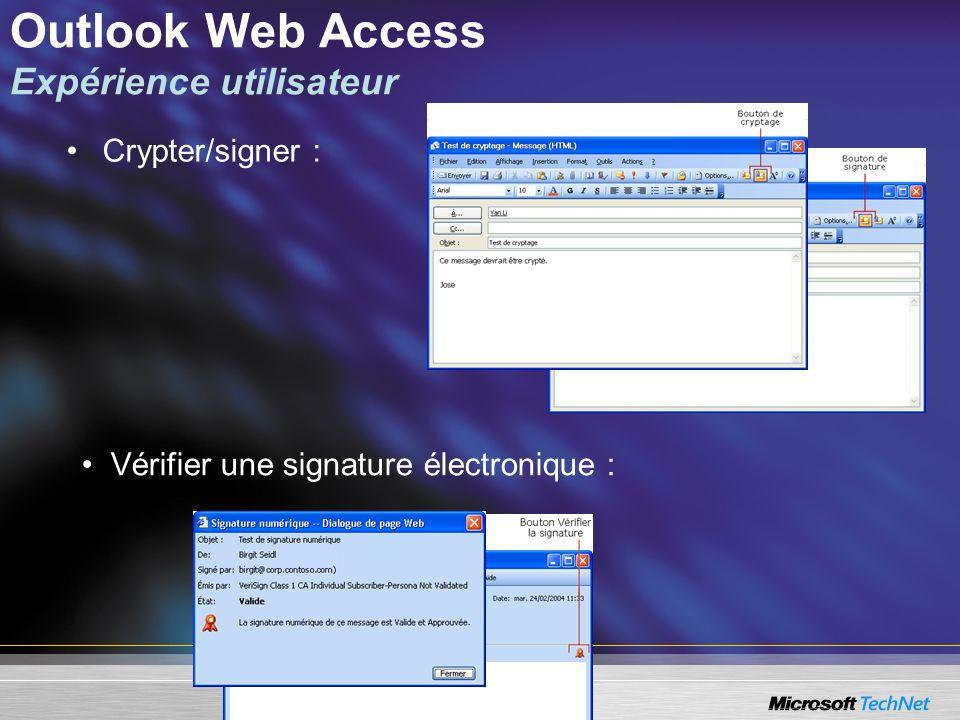 Outlook Web Access Expérience utilisateur Crypter/signer : Vérifier une signature électronique :