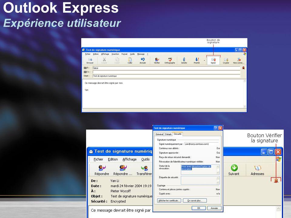 Outlook Express Expérience utilisateur