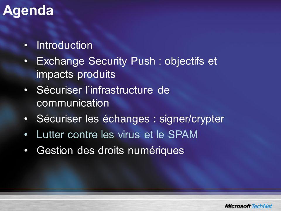 Agenda Introduction Exchange Security Push : objectifs et impacts produits Sécuriser linfrastructure de communication Sécuriser les échanges : signer/