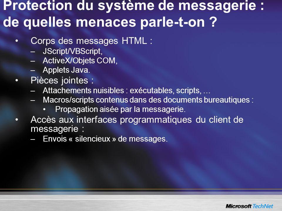 Protection du système de messagerie : de quelles menaces parle-t-on ? Corps des messages HTML : –JScript/VBScript, –ActiveX/Objets COM, –Applets Java.
