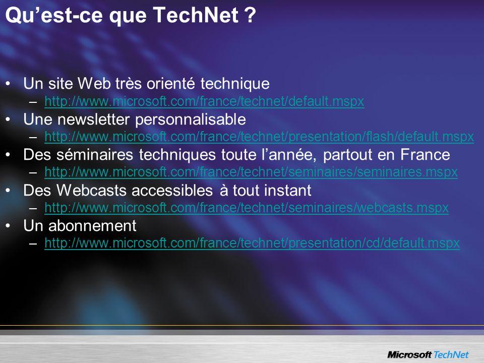 Quest-ce que TechNet ? Un site Web très orienté technique –http://www.microsoft.com/france/technet/default.mspxhttp://www.microsoft.com/france/technet