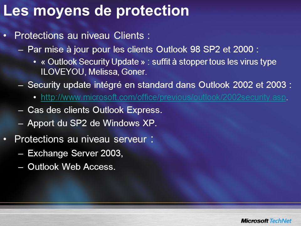 Les moyens de protection Protections au niveau Clients : –Par mise à jour pour les clients Outlook 98 SP2 et 2000 : « Outlook Security Update » : suffit à stopper tous les virus type ILOVEYOU, Melissa, Goner.