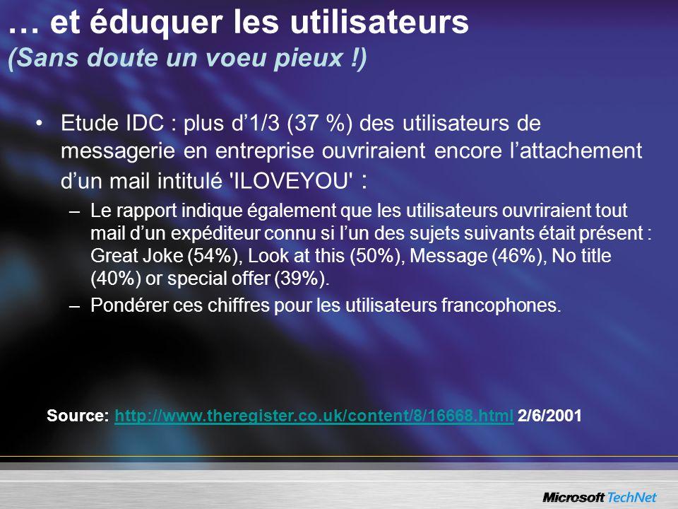 … et éduquer les utilisateurs (Sans doute un voeu pieux !) Etude IDC : plus d1/3 (37 %) des utilisateurs de messagerie en entreprise ouvriraient encor
