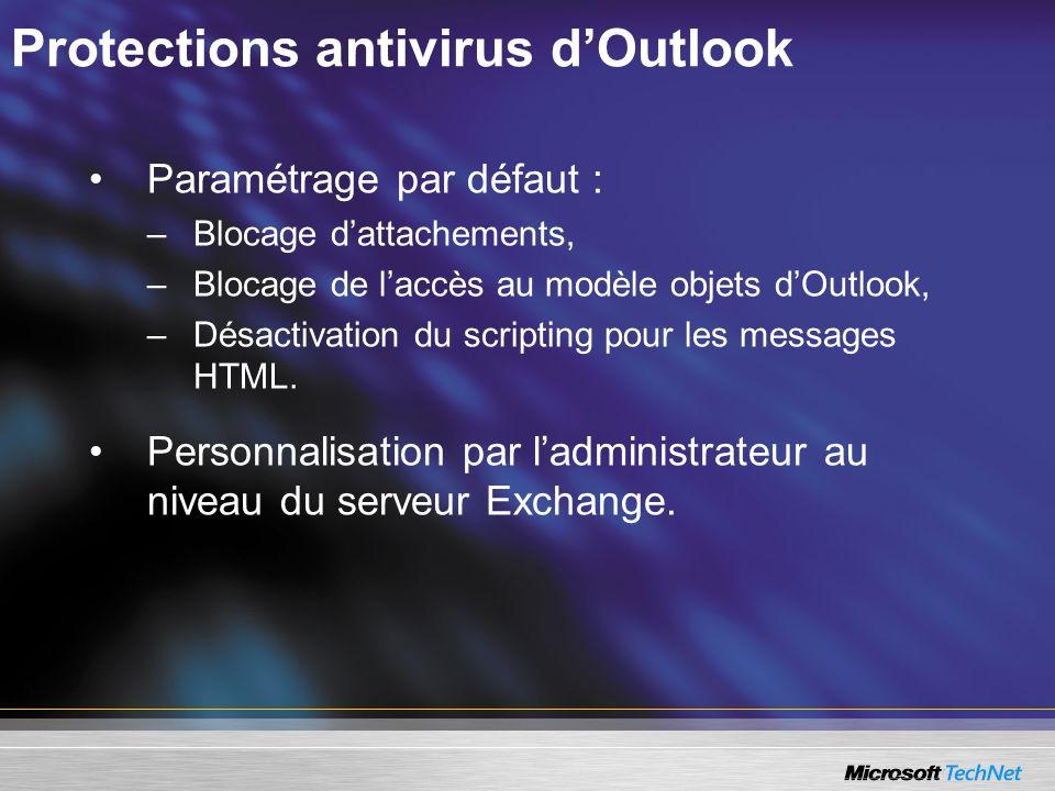 Protections antivirus dOutlook Paramétrage par défaut : –Blocage dattachements, –Blocage de laccès au modèle objets dOutlook, –Désactivation du scripting pour les messages HTML.