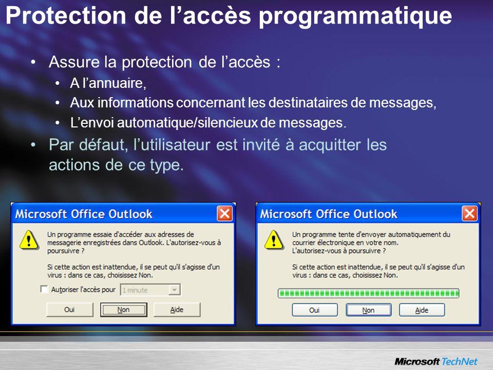 Protection de laccès programmatique Assure la protection de laccès : A lannuaire, Aux informations concernant les destinataires de messages, Lenvoi au